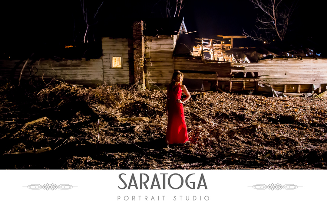 In the Dark with a Red Dress, a Night Shoot